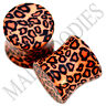 "0193 Double Flare Acrylic Leopard Cheetah Print Saddle Ear Plugs 7/16"" Inch 11mm"