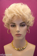 Natural Blonde Blond Short Layered Wavy Style Wig Wigs