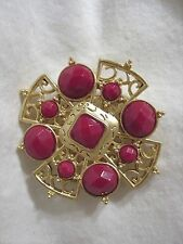 Fashion Metal Pin Brooch Brand New Large Red Acrylic Stones Gold Scroll Design
