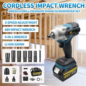 """1/2"""" Electric Impact Wrench 520Nm Torque Gun Brushless Cordless Driver + Battery"""