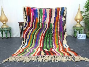"Moroccan Boujaad Handmade Rug 4'2""x5'6"" Berber Striped Purple Green Wool Rug"