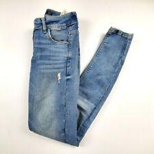 Zara Trafulac Womens Jeans Sz 00 Skinny Mid Rise Light Wash Distressed Denim