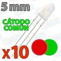 LED Difuso 5mm Bicolor Rojo-Verde 40mA 3 pines Catodo comun - Lote 10 unidades -