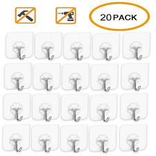 20PCS Transparent Seamless Adhesive Hook Wall Sticker Hanger For Kitchen Bath