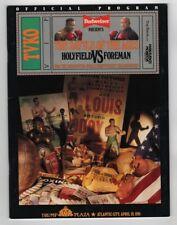 1991 Evander Holyfield v George Foreman Program 4/19 Trump Plaza Ex/MT