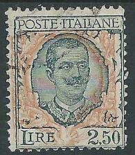 1926 REGNO USATO FLOREALE 2,50 LIRE VARIETà ORNATO SPOSTATO - S203