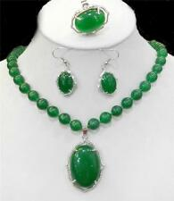 Natural Charming Green Jade Gemstone Necklace Ring Earring Jewelry Sets