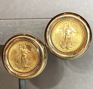 22K Yellow Gold Bias-Relief USA Gold Coin Liberty in 14K Setting Earrings