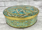 Vintage Daher Container Round Embossed Gold Aqua White Design W/ Lid England 8'