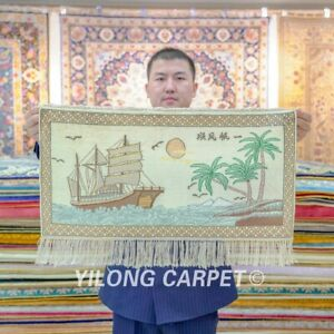 Yilong 2'x1' Living Room High Density Tapestry Handknotted Silk Carpets 046H