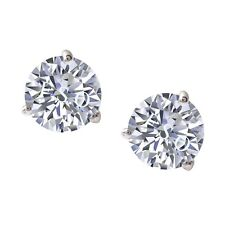 2ct Round Brilliant Cut Diamonds Simulate Martini 3Prong Earrings 14k White Gold