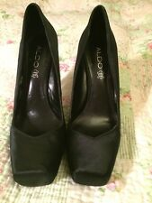 Gorgeous Aldo Black Satin And Leather Ladies High Heel Shoes-size 39