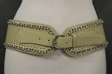 Women Wide Beige Tan Faux Leather Fashion Belt Silver Chains Metal Buckle S M