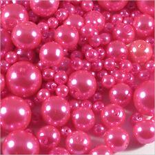 Lot de perles Nacrées en verre 4-12mm Mix Rose Fuchsia 100g