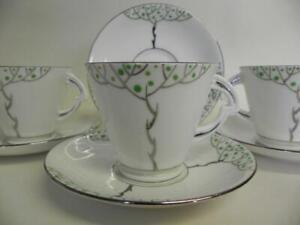 Vintage Art Deco Tea Set.  English Flosmaron Make. 6950. Six Duo's. (370)