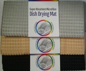 50x38 Microfibre Dish Drying Mat Sink Drainer Washing Up Towel Black Grey Beige