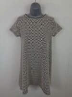 WOMENS ZARA BLACK/WHITE GEOMETRIC SHORT SLEEVE FLARED T SHIRT DRESS UK M MEDIUM
