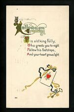 Halloween Postcard SAS 350-3 Owl playings cards 1919 embossed gold trim Vintage