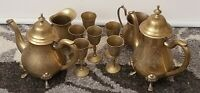 Vintage Silver Plated Engraved EPNS Set Of 10 Pieces Pots And Little Goblets