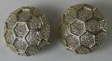 """Vintage CLIP EARRINGS Beehive Honeycomb Hexagon Shape Round Silver-tone 1"""""""
