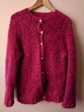 90s vintage raspberry pink mohair cardigan 12-14 grunge granny fluffy shaggy