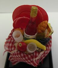 Dollhouse Miniature Picnic Basket w/wine & glasses, fruit, bread & dishes 1:12