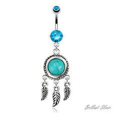 Piercing de Ombligo Colgante plata cazador sueños turquesa Piedra Cristales Azul