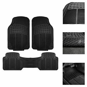Universal Floor Mats for Car All Weather Heavy Duty 3pc Rubber Set Black