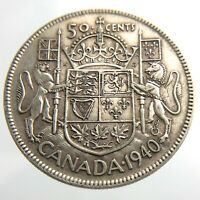 1940 Canada 50 Cents Silver Circulated George VI Half Dollar Coin Fifty R576