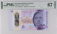 Scotland 20 Pounds 2019 P New Superb Gem UNC PMG 67 EPQ Wrong Label