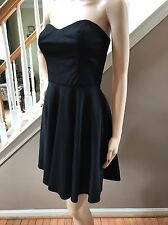 Amanda Uprichard Black Strapless Cocktail Fit and Flare Rayon Stretch Dress S