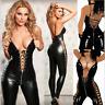 Sexy Women PVC Wetlook Leather Catsuit Women Jumpsuit Bodysuit Clubwear Lingerie