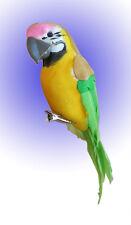Papagei am Clip Grün aus Federn 15 cm
