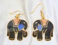 Fabulous Black Genuine Cloisonne Elephant Earrings 1970s vintage