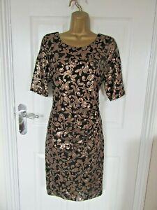 "David Emanual Size UK-14 Lined Black with Gold sequins shift dress.Bust 38"""