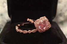 Set 18K Rose Gold Final Price Round Cut Morganite And Diamond Halo Bridal