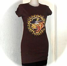 Christian Audigier Ed Hardy Brown Roaring Tiger in Hat Tunic Tee T Shirt Top S