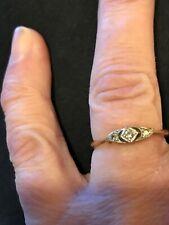Vintage Art Deco 18ct Gold Platinum & Diamond Ring Size M 1.7g