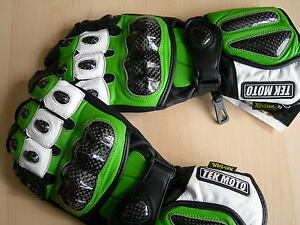 Tek Moto Motorcycle Gloves - Leather and Carbon Fiber - Gauntlet - Green