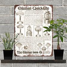 "1925 Coleman Lamp Lantern Camp Stove AD Man Cave Metal Sign 9x12"" 60607"