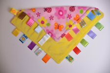 """Taggies Lovey Baby Blanket PINK Flower Butterfly Bugs Security Sensory 11"""" x 11"""""""