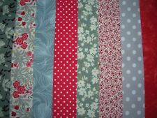 "8 JELLY ROLL STRIPS RED & GREY  44"" X 2.5""  100% COTTON PATCHWORK/QUILTING RG8"