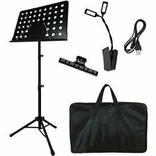 Collapsible Music Stand for Music Sheet with Led light, Holder & Carrying Bag
