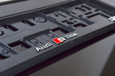 3D! 2x AUDI S LINE Black Finish + Chrome Number Plate Holders Limited Edition!