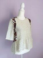Sandro Paris Size S White Cream 100% Silk Polka Dot Paisley Peplum Top Blouse