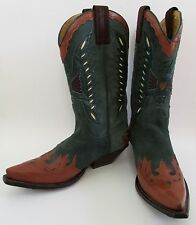 Senka Spain Green Suede & Brown Leather Cowboy Boots Sz 40/9.5