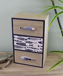 Seashore Small Chest of 3 Drawers, 17x27cm