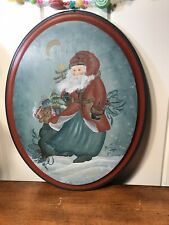 """Norwegian Rosemaling 15"""" X 11"""" Santa Claus Father Christmas Wood Plaque Signed"""