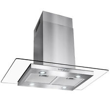 "36"" Island Mount Stainless Steel Tempered Glass Button Panel Kitchen Range Hood"