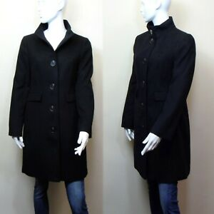 M&S 3/4 length TAILORED Funnel Neck COAT ~ Size 10 ~ BLACK (rrp £59)